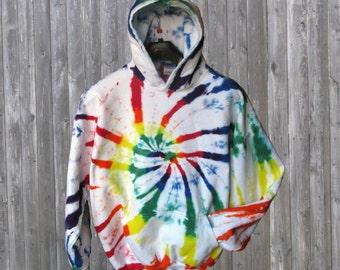 Rainbow Tie-dye Fleece Hoodie