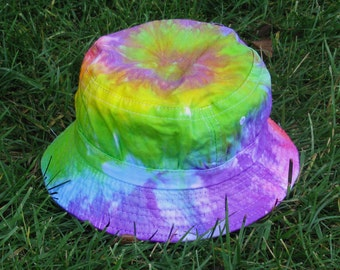 Tie-Dye Bucket Hat in Pastel Rainbow for Kids and Adults