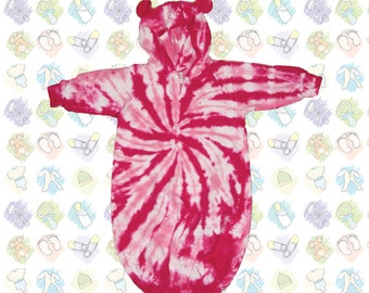 Super Cute Tie-Dye Baby Bunting with Ears