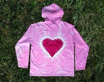 Pink Heart Tie-dye Hoodie