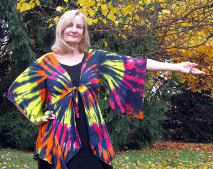 Featured listing image: Hand-dyed Faerie Jacket in Flame or Stained Glass