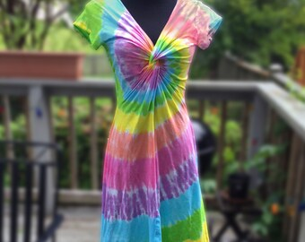 Tie-Dye Pastel Rainbow Twist Front Dress with Short or 3/4 Sleeves