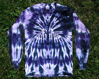 Purple and Black Spider Tie-dye Long-sleeved Tee Shirt for Kids