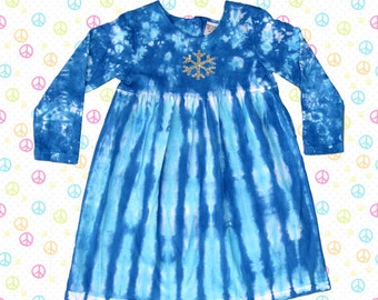 FROZEN - Long Sleeve Blue Dress with Sparkly Snowflake for Girls