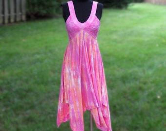 Full Skirt Summer Dress Hand Dyed in Pink and Peach