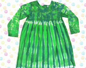 Green Tie-Dye Long Sleeve Dress for Girls