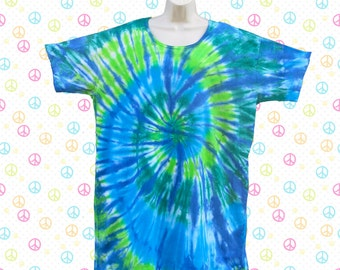 Ocean Spiral Tie-dye Sleep Tee, Dress, or Beach Cover-Up