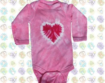 Pink Heart Tie-Dye Long-sleeved Onesie - others colors also available