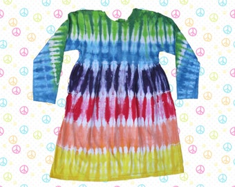 Soft Cotton Long Sleeve Dress in Rainbow Stripes for Girls