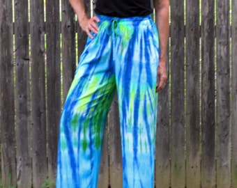 Tie-Dye Rayon Loose Pants in Ocean or Custom Colors
