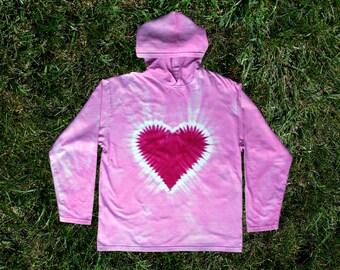 Pink Heart Tie-dye Hoodie for Kids