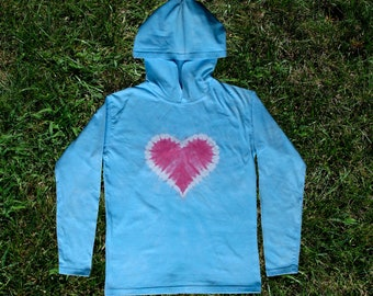 Pale Blue and Pink Heart Tie-dye Hoodie