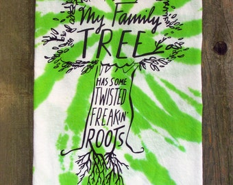 "Hilarious Tie-Dye ""Family Tree"" Kitchen or Guest Towel"