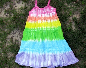 Girls sleeveless tie-dye pastel rainbow dress with lace