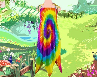Rainbow Spiral Fairie Dress - Fairy Costume for Youth and Adults