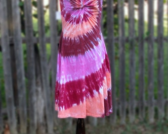 Desert Shades Tie-Dye Twist Front Dress with Short Sleeves