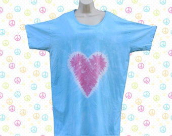 Pink Heart on Blue Tie-dye Sleep Tee, Dress, or Beach Cover-Up