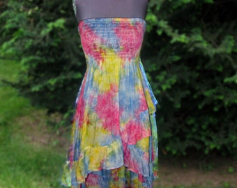 Pink, Yellow, and Pale Blue Ruffled Skirt or Dress