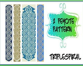 TWO Peyote Pattern - Triple Spiral Bracelet - Pdf Tutorial