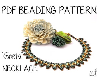 "Tutorial ""Greta"" Necklace - Superduo - Pdf Beading Pattern"