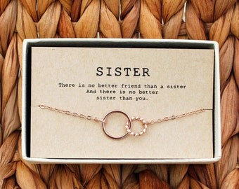 Sisters Necklace O Best Friend Circle Sister Birthday Gift Big 2 Interlocking Circles Sis Ne 04
