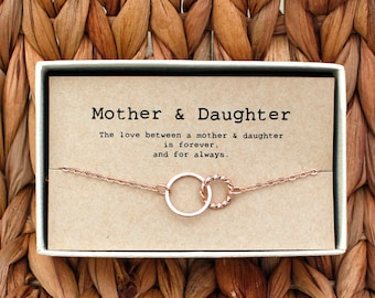 Mother Daughter Bracelet O Gift Jewelry 2 Interlocking Circles MD Br 04