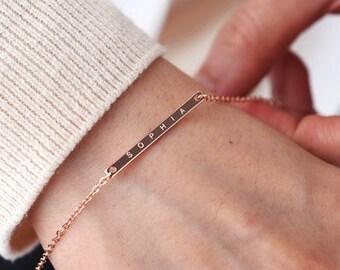 Inspirational bracelet, Personalized bracelet, bridesmaid gifts, name bracelet, Custom Name Bracelet, Rose Gold Bracelet, Best Friend Gift