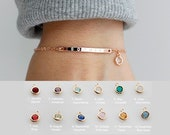 Personalized Birthstone Bracelet Name Bracelet Friendship Bracelet Best Friend Gift Bridesmaid Gift Sister Gifts SBC-A