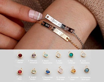 Personalized Birthstone Bracelet O Friendship Best Friend Gift Name Bridesmaid Girlfriend Birthday Giftso LBC