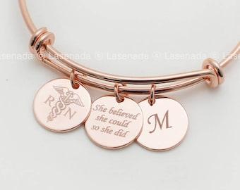 RN gift, Nurse Bracelet, RN Bracelet, Nurse Graduation Gift, Registered Nurse personalized bracelet, Personalized Nursing Graduate Gifts