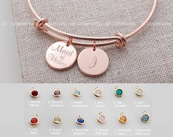 Birthstone personalized bracelet, maid of honor bracelet, Adjustable Bangle, personalized bracelet, bridesmaid gift, rose gold bracelet