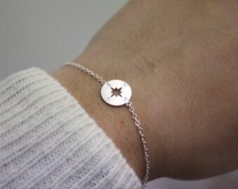 Compass Bracelet, silver compass Bracelet, Personalized bracelet, best friend bracelet, initial bracelet, Nautical Jewelry