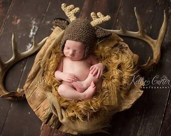 5dcf98950b8 Deer Hat - Crochet Deer hat - Buck Hat - Newborn Boy Hat
