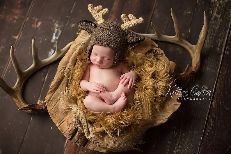 Deer Hat Crochet Deer hat Buck Hat Newborn Boy Hat  ba80bfc5c9ef