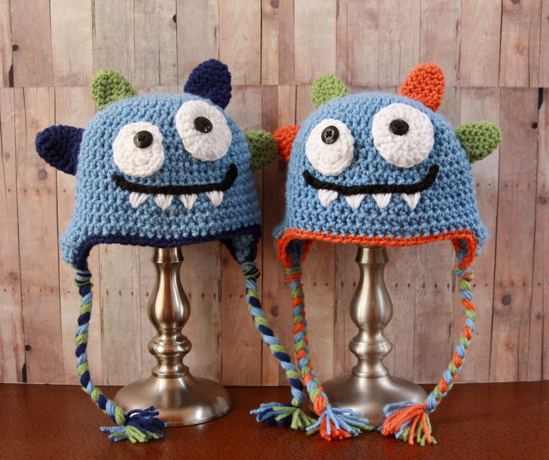 Happy Monster Hat Baby Boy Hat Crochet Boys Hat Crochet Etsy