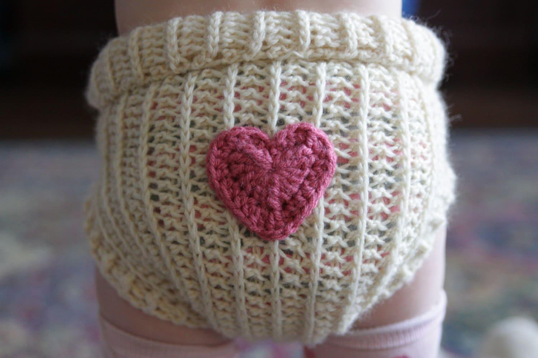 Crochet Wool Soaker Cloth Diaper Wool Soaker With Heart Etsy