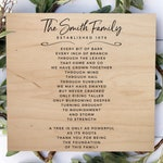Gift for Parents 30th 40th 50th Wedding Anniversary Wood Sign, Personalized Established Family Plaque, Roots Poem
