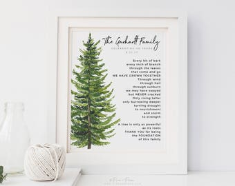 Gift for Grandparents Anniversary Family Tree Art Print Poem, Personalized Family Name,  UNFRAMED 8x10 inch print