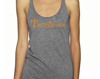 Tennis.see® Tennis Tank Tennessee Tennis.see Tshirt Tee Shirt Womens Gray Grey Orange Tank Top Tennissee Tennissee