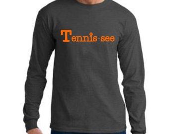 Tennessee Tshirt,  Tennis.see® Tshirt, Tennessee Shirt, Dark Heather Gray Tennis Shirt, Gray Tennissee Unisex