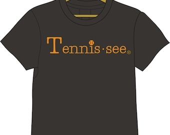 Tennis.see® Tennis Tennessee Tshirt Tee Shirt Mens Womens Unisex Heather Gray Orange