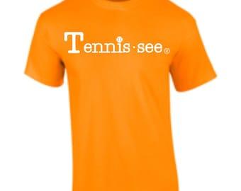 Tennis.see® Tennis Tennessee  Tshirt Tee Shirt Mens Womens Unisex White Orange Tennissee