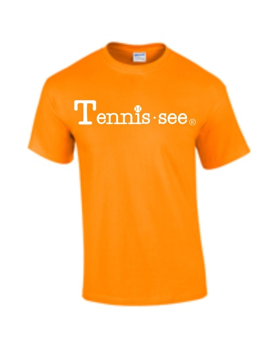 Tennis.see® Tennis Tennessee  Tshirt Tee Shirt Mens Womens Unisex White Orange Tennissee