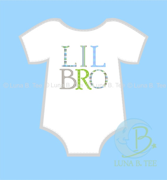 INSTANT DOWNLOAD Lil Little Bro Brother Letters Pattern Pink Brown  Printable DIY Iron On to Tee T-Shirt Transfer - Digital File