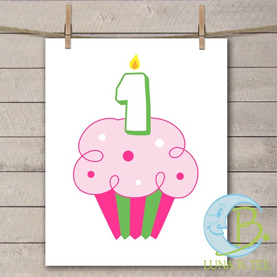 INSTANT DOWNLOAD Birthday Cupcake Candle One Printable DIY Iron On to Tee T-Shirt Transfer First Birthday - Digital File