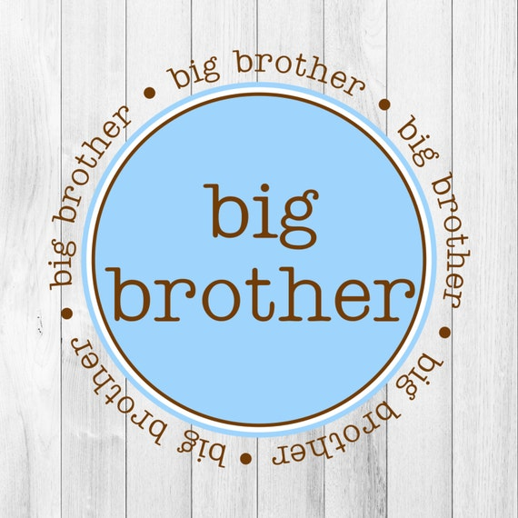 INSTANT Download Digital File PDF Big Brother Announcement Gift Blue Brown Printable DIY Iron On to Tee T-Shirt Transfer