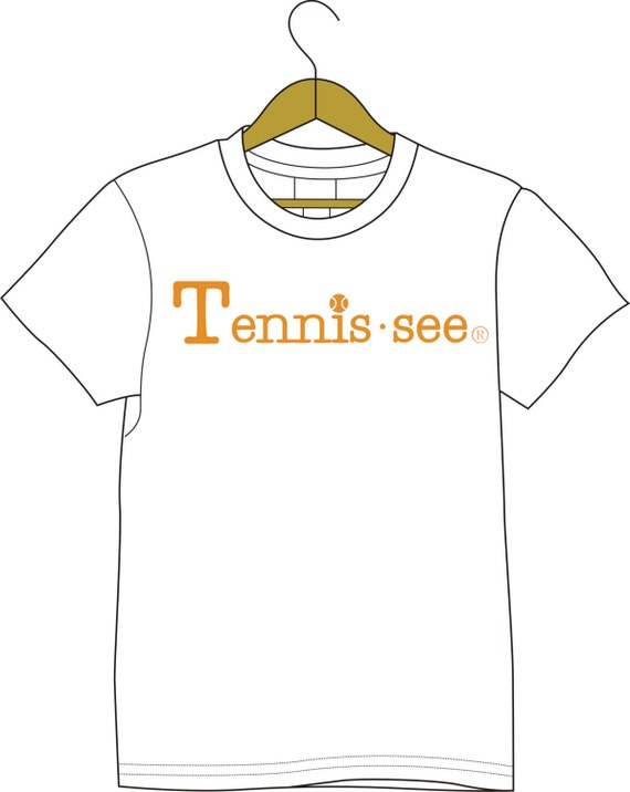 Tennis.see® Tennis Tennessee Tennis.see Tshirt Tee Shirt Mens Womens Unisex White Orange