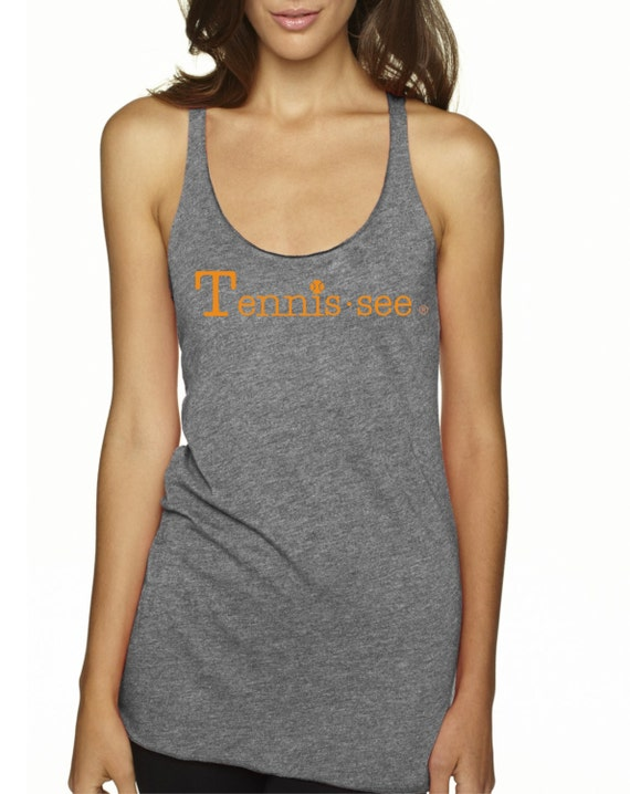 Tennis.see® Tennis Tank Tennessee Tennis.see Tshirt Tee Shirt Womens Gray Grey Orange Tank Top Tennissee Tennissee