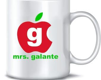 Teacher Apple Coffee Mug Monogram Personalized Custom Name Initial Mom Dad Grandparent Coffee Cup Mug 15oz