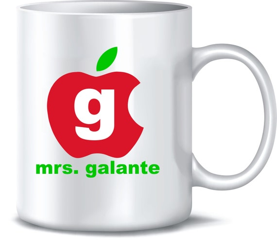 Teacher Apple Coffee Mug Monogram Personalized Custom Name Initial Mom Dad Grandparent Coffee Cup Mug 15oz